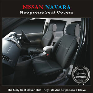 Nissan-Navara-D40-550-STX-Waterproof-PREMIUM-Front-Pair-Car-Seat-Covers-Airbag