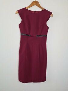 NIFE-Corporate-Business-Sheath-Dress-Women-039-s-Size-36-8-Leather-Trim-amp-Bow-BNWT