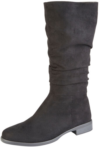 Girls Faux Leather Suede Slouch Boots Tall Riding Low Heel School Winter Shoes