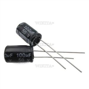 50Pcs-100Uf-50V-105C-Radial-8X12-Mm-Electrolytic-Capacitor-Ic-New-en