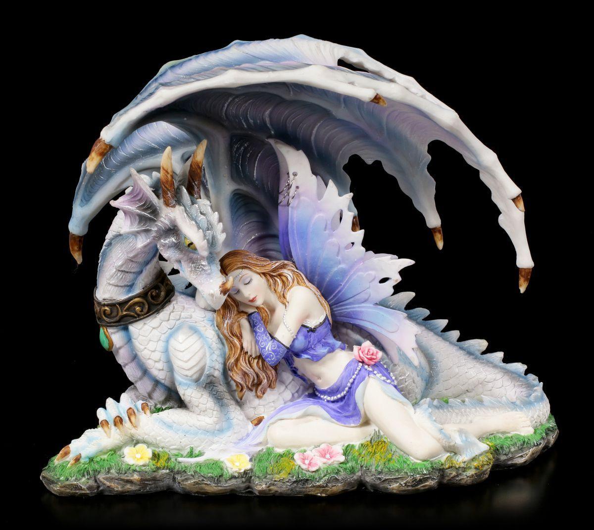 Figura Elfos - myrha CON DRAGÓN - Fantasía drachenelfe feenfigur Decoración