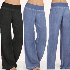 Femme-Mode-en-Jean-Pantalon-Belle-Taille-haute-Casual-en-vrac-Jambe-Large-Plus