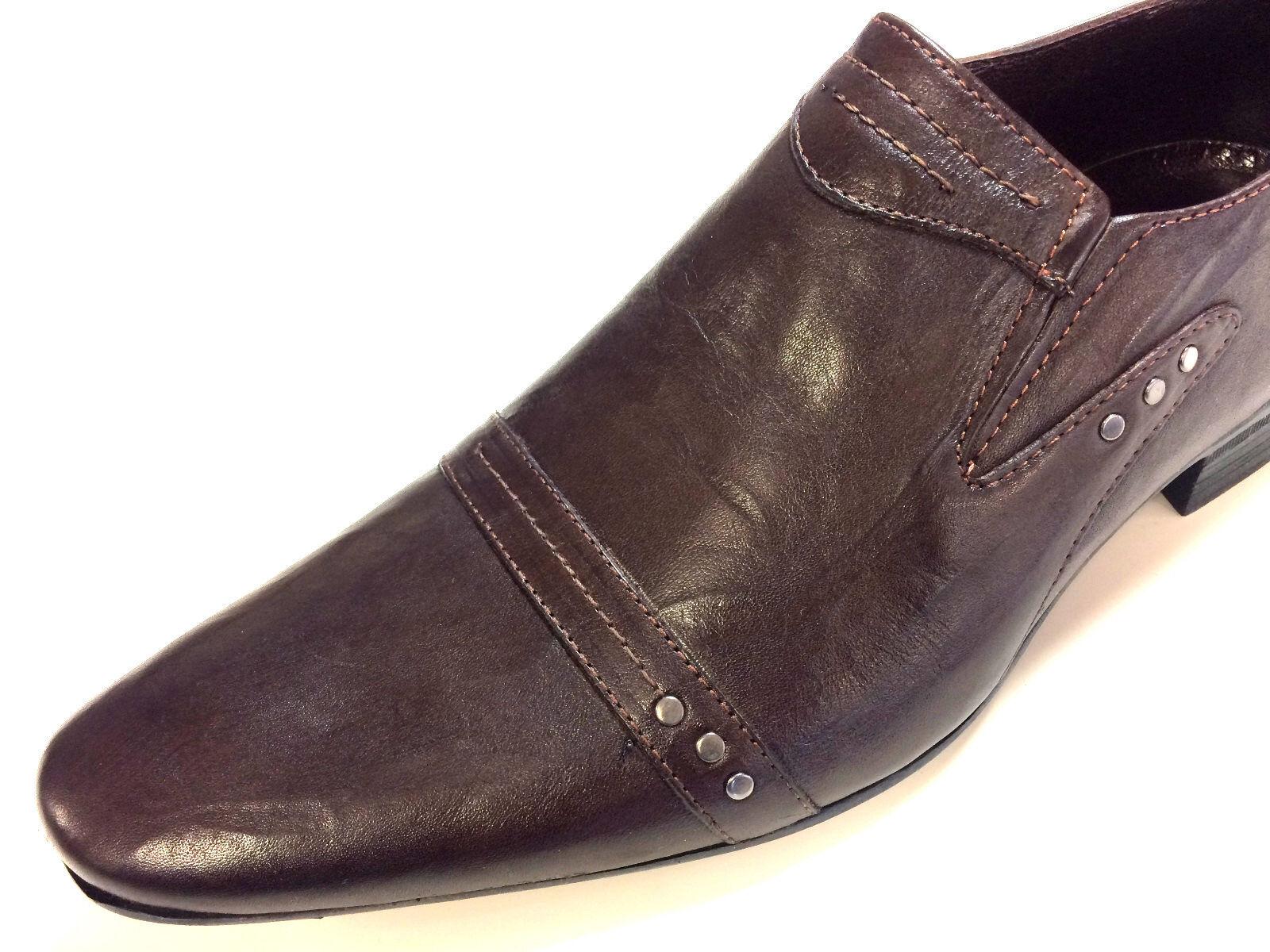 Chelsy cuero zapatos caballero mocasín Designer vernietet Slipper a mano marrón