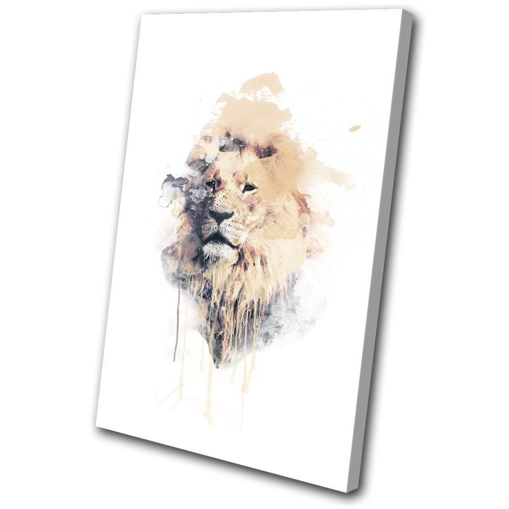 Lion Africa Cat Cat Cat Paint abstract Animals SINGLE TELA parete arte foto stampa 226bc0