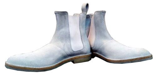HOMMES fait main véritable daim chaussures en cuir Chelsea Blanc Bottes Décontractées