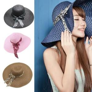 Ladies Summer Sun Beach Floppy Derby Hat Wide Brim Straw With Bows ... c2947d75cf2