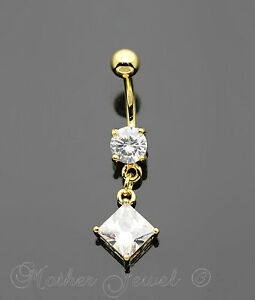 Knowledgeable 14k Yellow Gold Triple Plated Square Dangle Simulated Diamond Belly Navel Ring Jewelry & Watches