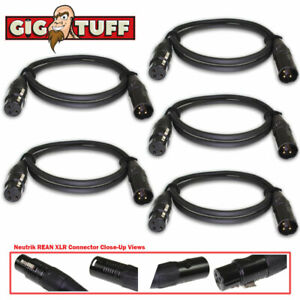 5-pack Gig Tuff 3 Ft (environ 0.91 M) Tour Pro Microphone Câble Neutrik Rean Xlr Awg 20 Ofc 6.5 Mm-afficher Le Titre D'origine ModéLisation Durable