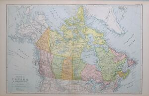 1923 Landkarte Dominion Von Kanada British Columbia Alberta Manitoba Nova Scotia