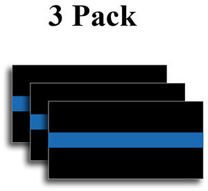 "Reflective Thin Blue Line Sticker Decal Police Support  FOP  4"" x 2"" 3M Officer"