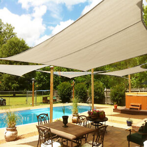 Beige Custom 5 12ft Rectangle Waterproof Sun Shade Sail Garden Pool