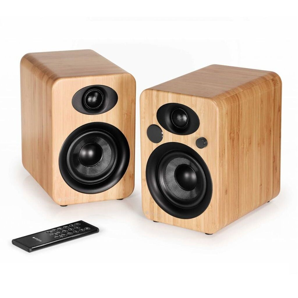 steljes audio ns 3 aktiv bluetooth drahtlos angetriebenen lautsprecher bambus ebay. Black Bedroom Furniture Sets. Home Design Ideas