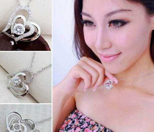 925 Amor Corazón De Plata Blanco Cristal Moda Cadena Colgante Collar Regalo para Mujer