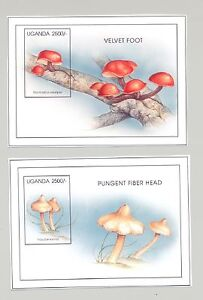 Uganda-1422-1423-Mushrooms-2v-S-S-Imperf-Chromalin-Proofs