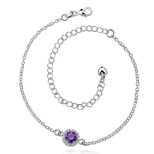 107 con Sterling plata Fußkette señora circonita//pedrería lila cadena joyas PL