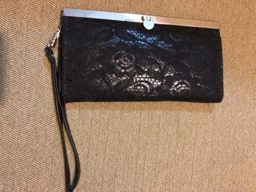 WET SEAL BLACK FAUX LEATHER AND LACE CLUTCH WALLET  NWTS