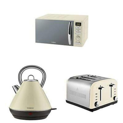 1.8L 3kW PYRAMID Kettle /& a BLACK 2 Slice Toaster TOWER BLACK DIGITAL Microwave