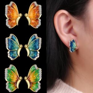Fashion-Charm-Gold-Tone-Crystal-Rhinestone-Butterfly-Stud-Earrings-Jewelry-Gift