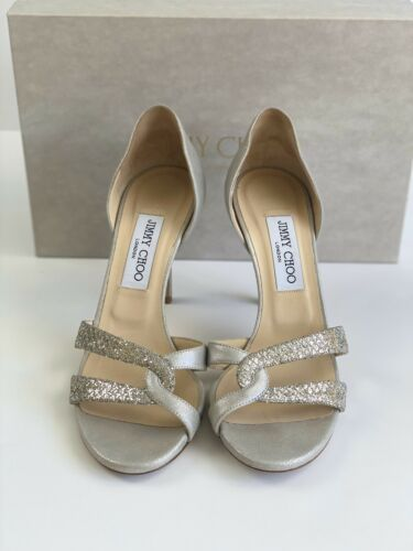 Jimmy Choo Metallic Leather/Fabric Champagne Size
