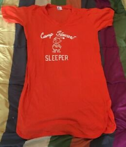 Camp-Stewart-For-Boys-Hunt-Texas-Camp-Sleeper-Night-Shirt-L-Vintage