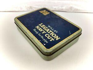 Vintage British Tobacciana-Tobacco Tin- Wills Legation Navy Cut-Blue