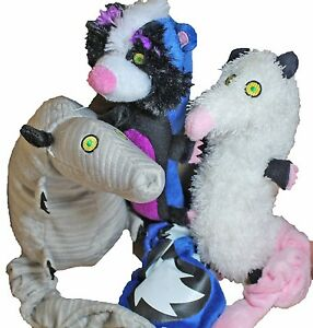3 hartz backyard pests plush dog toys w stretchy tails