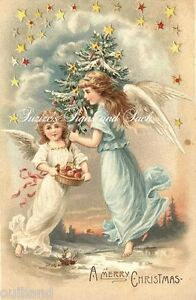 Christmas Angels.Details About Vintage Christmas Fabric Block Merry Christmas Angels Stars Christmas Tree
