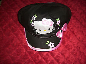 HELLO-KITTY-BLACK-HAT-CAP-WITH-PINK-BOW-AND-TRIM-NEW-WITH-TAGS