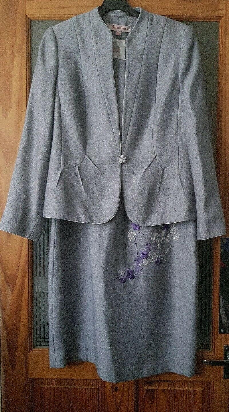 JACQUES VERT - Stunning mother of bride outfit . Silver grey , Size 12 - 14
