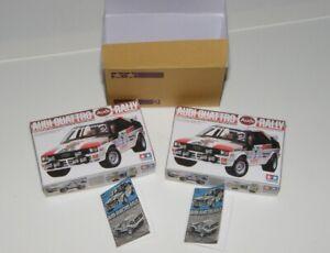 Miniature Tamiya RC Audi Quattro Rally style boxes, manuals, shipping carton