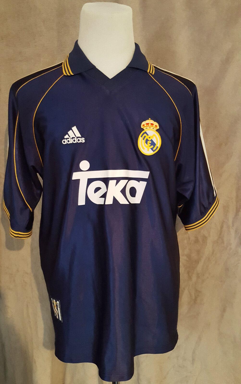 Molto RARO VINTAGE REAL MADRID ADIDAS Away Camicia TAGLIA  Large Ottime condizioni
