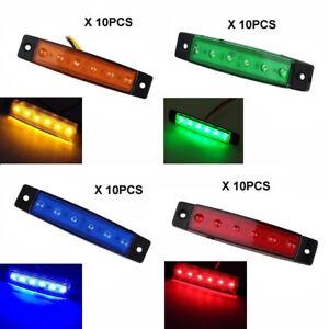 10-X-12V-6-LED-Side-Marker-Indicators-Lights-Rear-Lamp-For-Car-Truck-Trailer-Bus