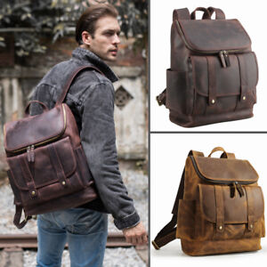 Real-Leather-Backpack-For-Men-Vintage-15-034-Laptop-Daypack-Travel-Hiking-Satchel