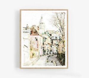 Montmartre Paris France aquarelle Décoration intérieure, Design, Poster murale