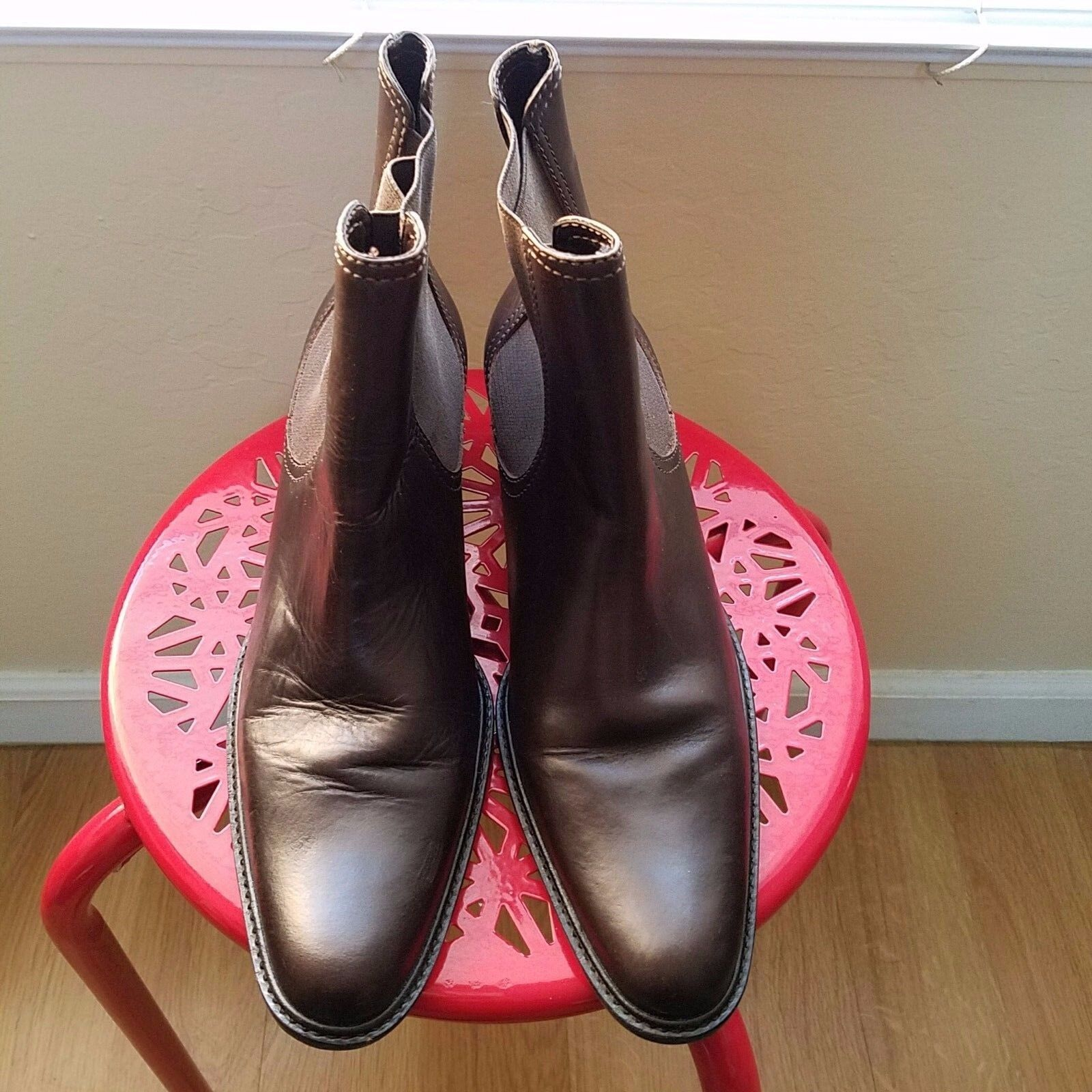 Women's Brown Leather Boots Booties Size 8