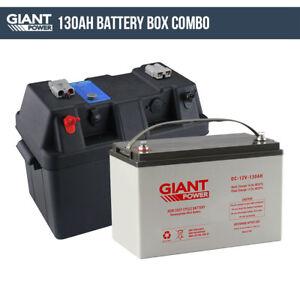 130ah 12v deep cycle agm battery box kit 12 volt power kit for camping ebay. Black Bedroom Furniture Sets. Home Design Ideas