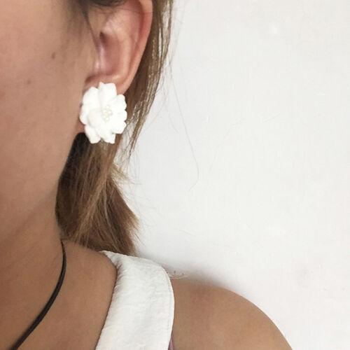 Fashion Women Rhinestone White Flower Stud Earrings Crystal Ear Clip Gift 8C