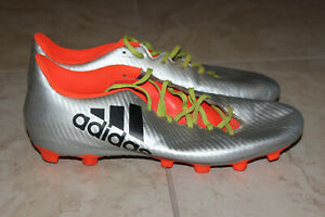 online retailer 1a6ad 287d2 Details about Adidas X 16.4 FXG Men Soccer Cleets Athletic Shoes Sz:10.5  Silver, black, orange