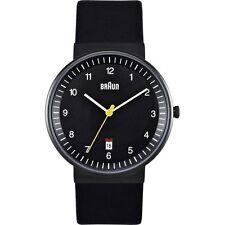 Braun Black Men's Quartz Three Hand Watch Leather Strap BN0032BKBKG - NEW