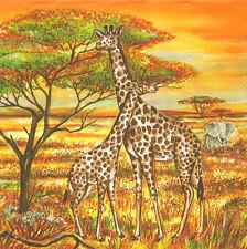 Mesa De Papel Única de 4 Servilletas Para Decoupage dos jirafas Cebra Sabana África