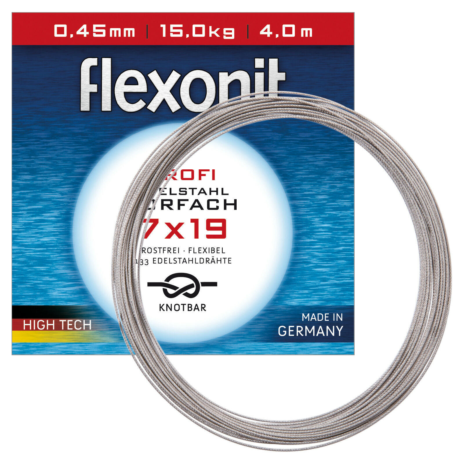 (3EUR m) Flexonit Stahlvorfach Meterware - 7x19 Silber 0,45mm 15,0kg 20m