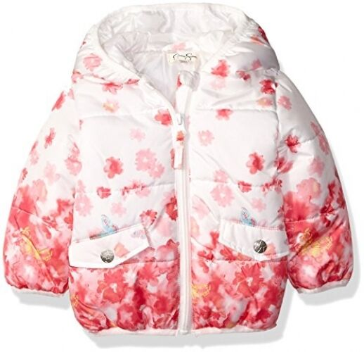 4f722d31f Jessica Simpson Baby Girls  Floral Print Bubble Jacket Pink 18 ...
