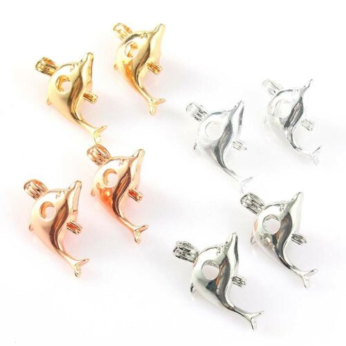 5X Gold//Silver Dolphin Pearl Beads Cage Pendant Necklace DIY Making Jewelry Gift