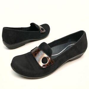 Dansko-Women-s-slip-on-comfort-shoes-loafer-9-5-Eu40-black-suede-Pumps-EUC