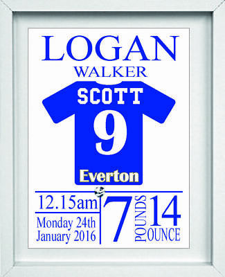 Everton Baby Nursery PicturePersonalised NamePresent Gift NP025