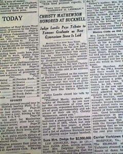 CHRISTY MATHEWSON Giants Pitcher Honored at Bucknell University 1937 Newspaper