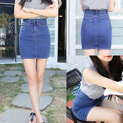 Women High Waist Denim Bodycon Jean Wiggle Pencil Bandage Short Mini Casual Sexy