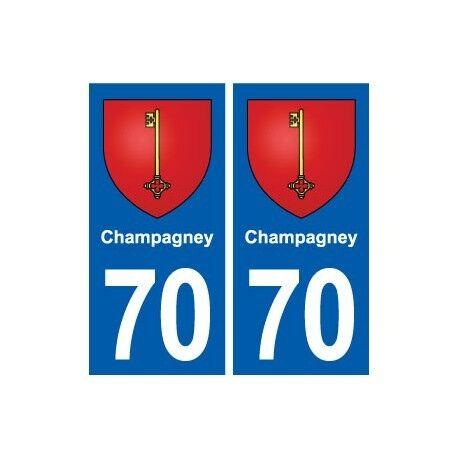 70 Champagney blason autocollant plaque stickers ville arrondis