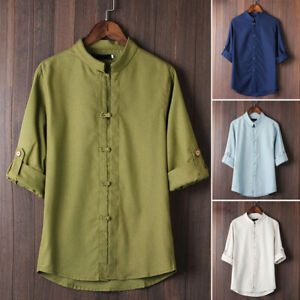Men-039-s-Fit-Linen-Long-Sleeve-Shirt-Summer-Cool-Loose-Casual-V-Neck-Shirts-Tops