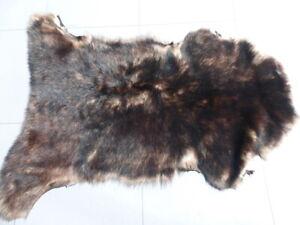 sheepskin leather hide fur Tri-Tipped Brown/Cream/Brown Toscana long silky hair